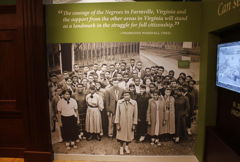 The students of the historic strike, as seen in the gallery of the Moton School Museum in Farmville, Va.