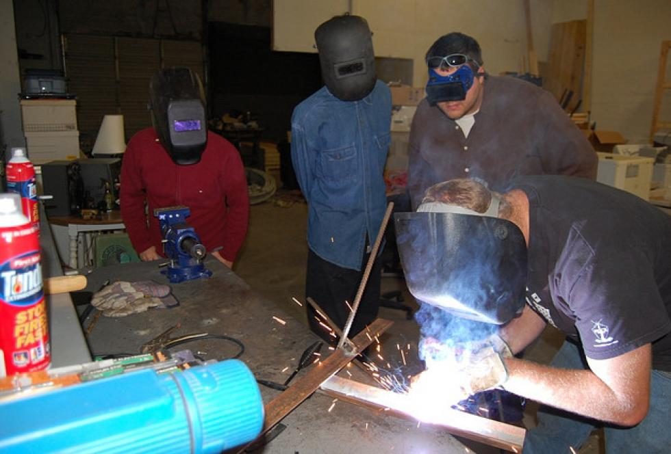 Welding classes remain a staple of some career and technical education high schools as well as community college vocational certification programs. (Flickr/Clarence Risher)