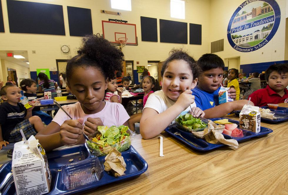 School lunch staff and students enjoy the new school lunch menu created to meet the new standards at the Yorkshire Elementary School in Manassas, Virginia. (USDA photo by Lance Cheung via Creative Commons)