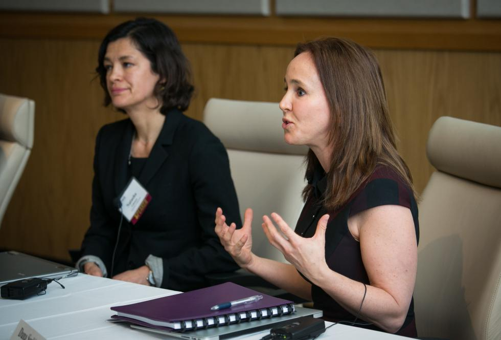 Natasha Cabrera (left) of the University of Maryland and Dana Suskind of the Thirty Million Words Initiative speak at EWA's early childhood education seminar in New Orleans in February 2014.