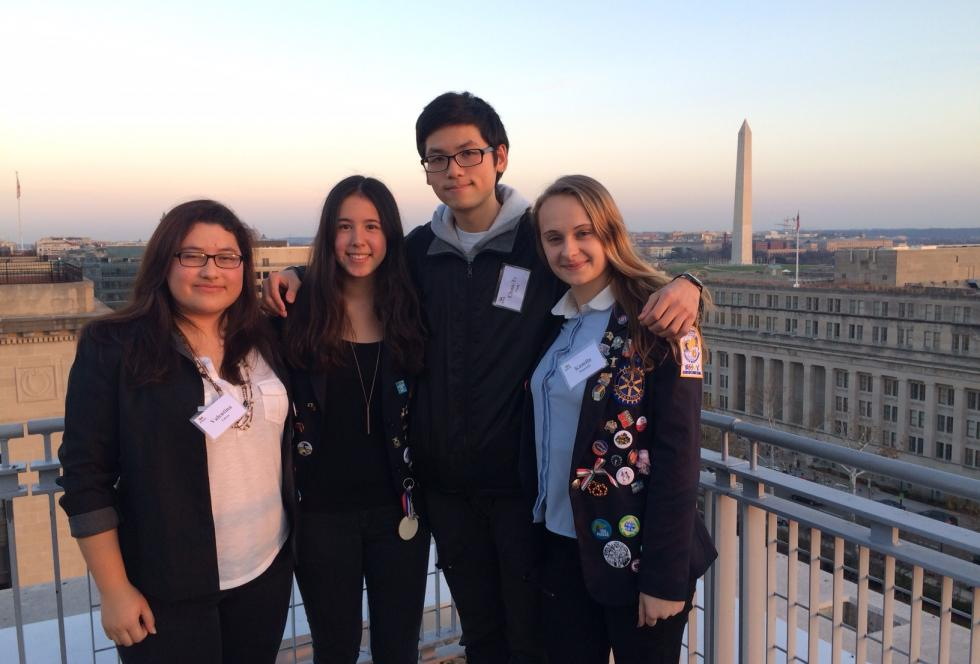 A panel of exchange students spoke at EWA's recent conference on U.S. education in a global context. From left to right, they are Valentina Tobon of Virginia, Lili Hofmann of Germany, Chun-Te Wang of Taiwan, and Kamila Mundzik of Poland. Photo by Emily Richmond, EWA