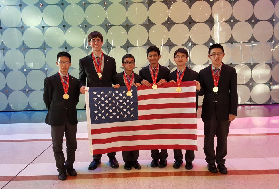 The winning U.S. team at the International Math Olympiad in Hong Kong. (Photo credit: Po-Shen Loh)