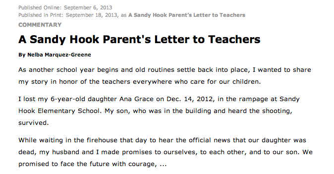 sandy hook school shooting essay Mary ann jacob was working in the library at sandy hook elementary school on the day that a gunman killed 20 children there.