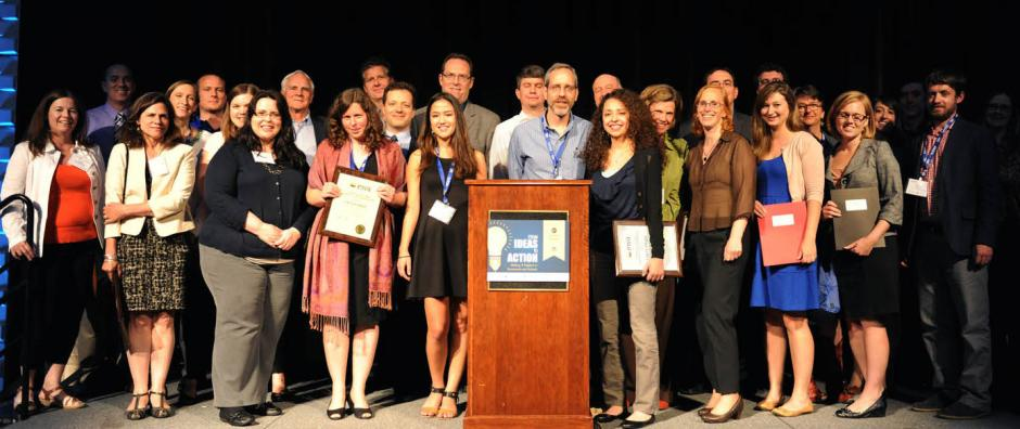 Winners of the National Awards for Education Reporting gather on May 18, 2014, after receiving their awards at EWA's 67th National Seminar at Vanderbilt University in Nashville, Tenn.