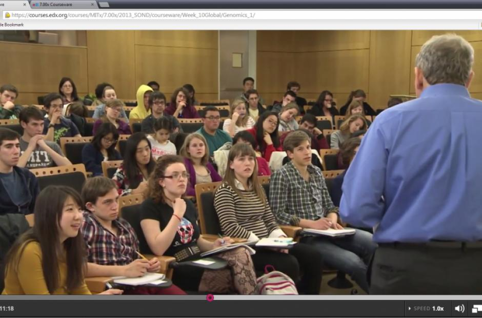 Biology students participate in person and virtually in a Massive Open Online Class (MOOC) offered by the MIT's edX initiative. (Flickr/brewbooks)