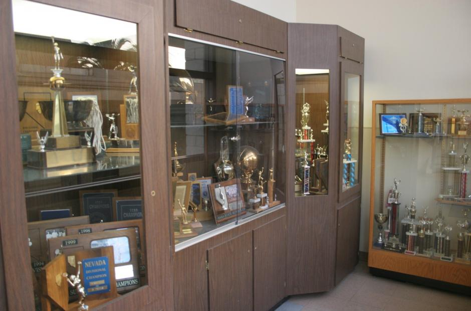 The trophy case at the highly regarded Bishop Gorman High School in Las Vegas. A new Nevada law will allow parents to access state funds to pay for educational expenses, including tuition at private or parochial schools. (Flickr/David Syzdek)