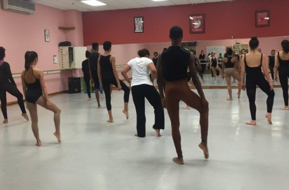 Students participate in a dance class at Boston Arts Academy, the only public arts high school in the city. (Natalie Gross/ EWA)
