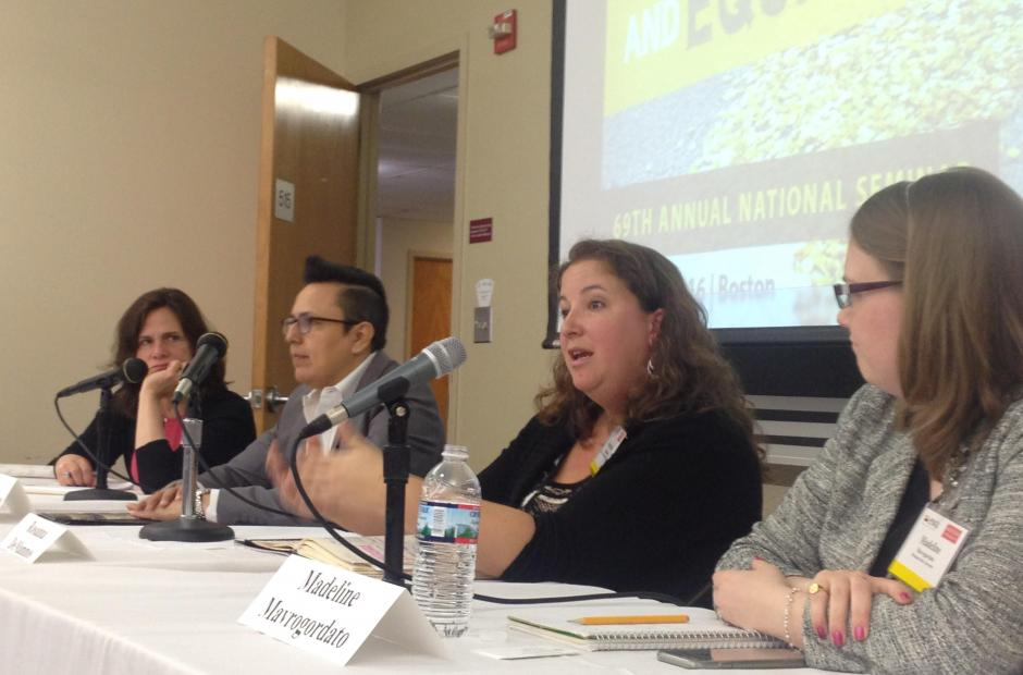Experts discuss the education of immigrant students during a recent panel at an Education Writers Association seminar in Boston.