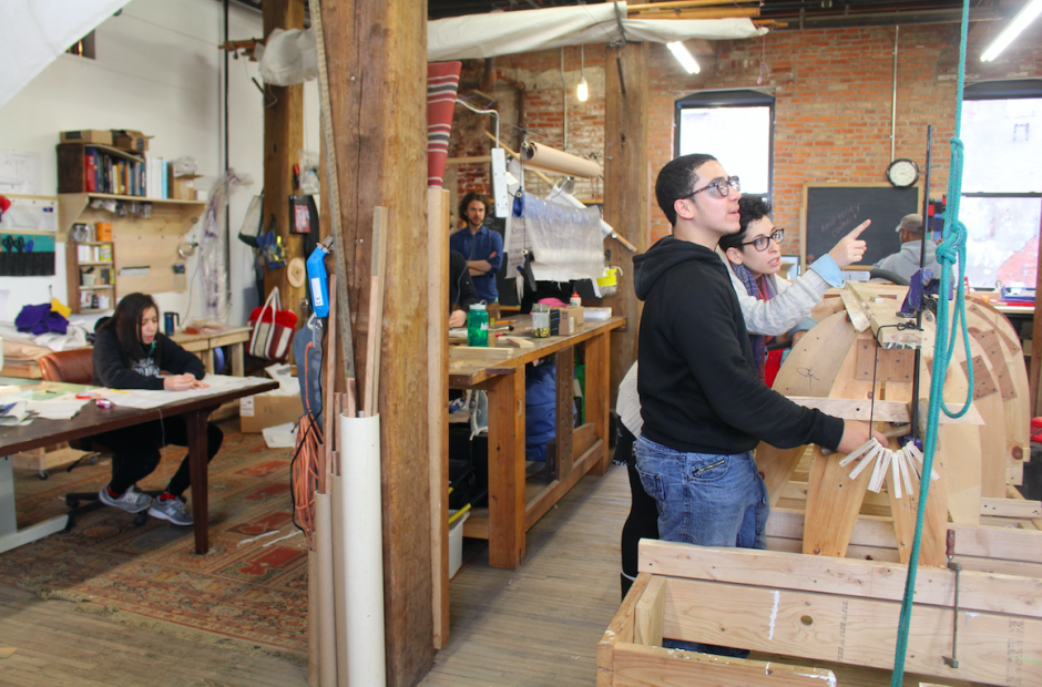 Students from El Centro de Estudiantes learn from their mentors at Philadelphia's Wooden Boat Factory. Providing more personalized learning experiences has been found to improve students' motivation and academic outcomes. (Photo credit: Big Picture Learning)