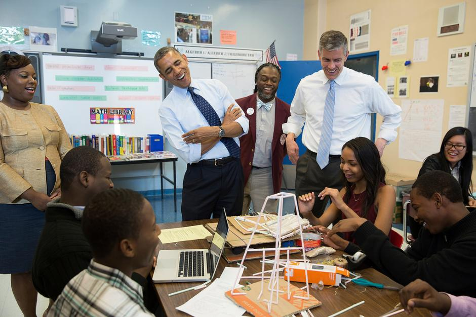 President Barack Obama and Education Secretary Arne Duncan visit a classroom at the Pathways in Technology Early College High School (P-TECH) in Brooklyn, N.Y., Oct. 25, 2013. (White House/Pete Souza)