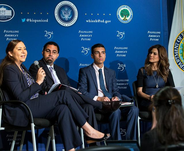 Alejandra Ceja, left, speaks at a White House celebration of Hispanic Heritage Month Thursday, Oct. 15. Ceja is the executive director of the White House Initiative on Educational Excellence of Hispanics. Source: Flickr/ via US Department of Education (CC BY 2.0)