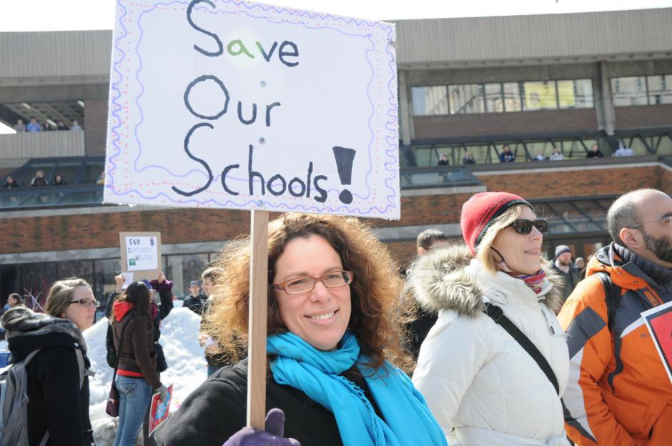 Students and faculty at the University of Wisconsin-Milwaukee rally against proposed state budget cuts to higher education. (Flickr/marctasman)