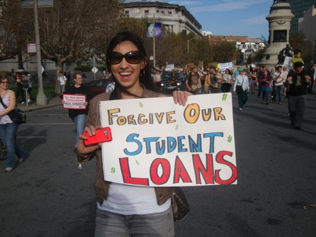 Students rally in San Francisco for relief from their student loan debt. (Flickr/jjinsf94115)