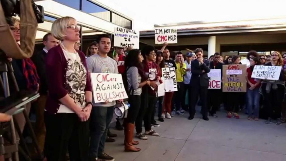 Claremont McKenna College student protests led to the resignation of the college's dean of students last week. Source: YouTube