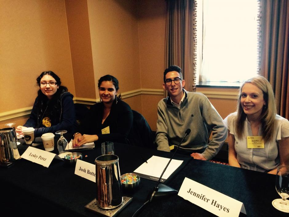 From left: Stephanie Hernandez, Lesley Perez, Joshua Botterman and Jennifer Hayes at EWA's National Seminar in Chicago, April 21, 2015. (EWA/Emily Richmond)