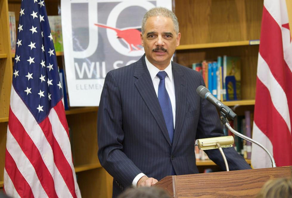 Attorney General Eric Holder during the March 2014 release of the Civil Rights Data Collection. (Source: Flickr/U.S. Department of Education