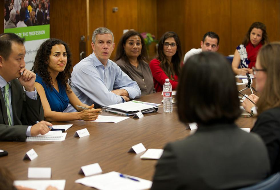 U.S. Secretary of Education Arne Duncan meets with teachers in Los Angeles on October 21, 2014. Photo credit: Flickr/U.S. Dept. of Education