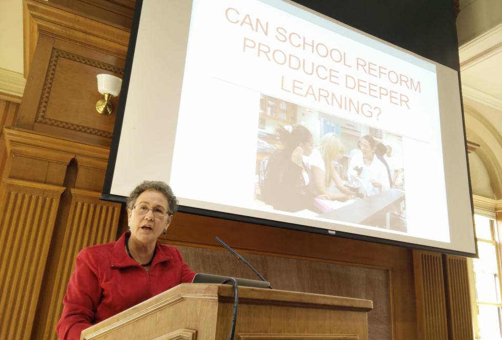 Linda Darling-Hammond speaks to reporters at a seminar on motivation at Stanford in November. (Photo credit: EWA/Michael Marriott)