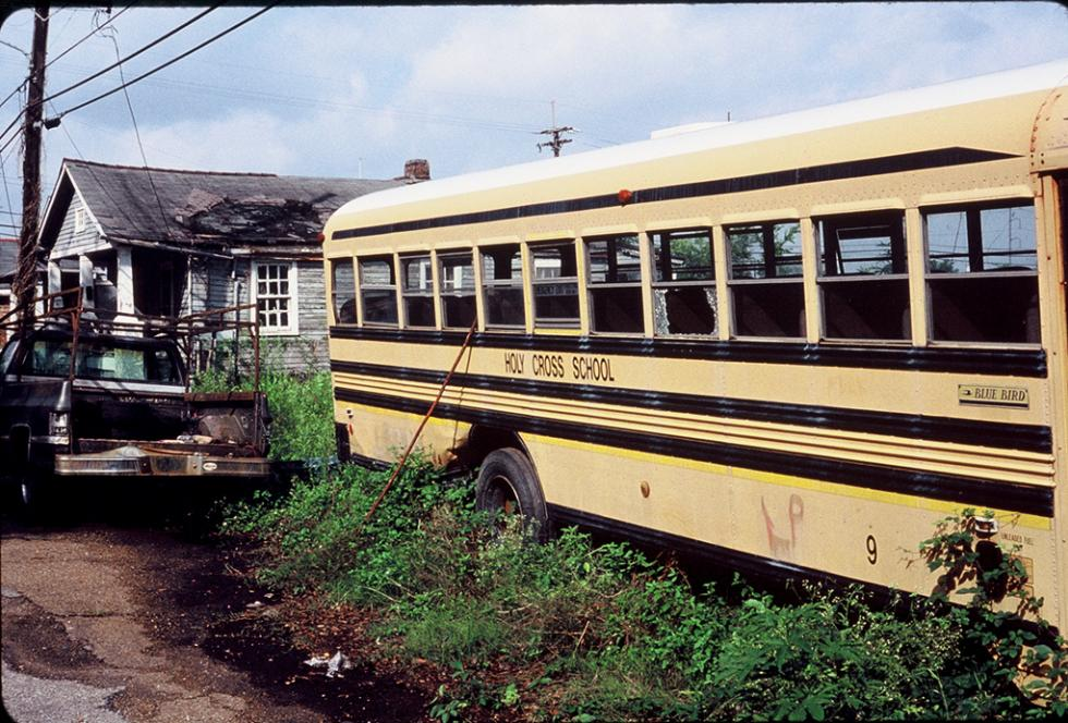 An abandoned school bus in New Orleans in 2005. (Flickr/Gilbert Mercier)