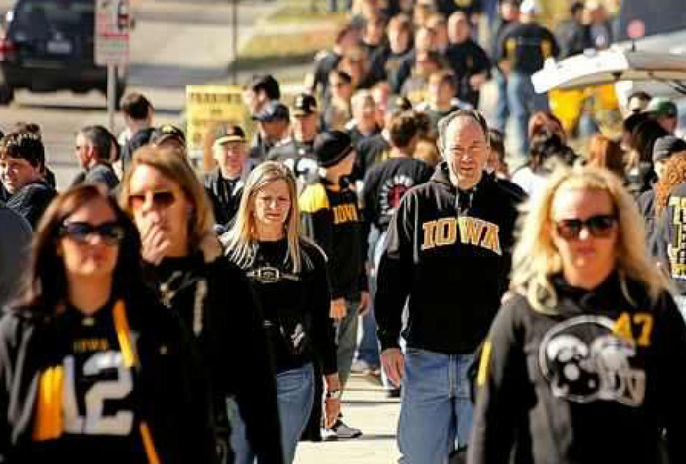 Game Day at the University of Iowa. Focusing on how athletic programs influence a university's operations is a smart story for reporters, says Inside Higher Ed's editor Scott Jaschik. (Flickr/Phil Roeder)