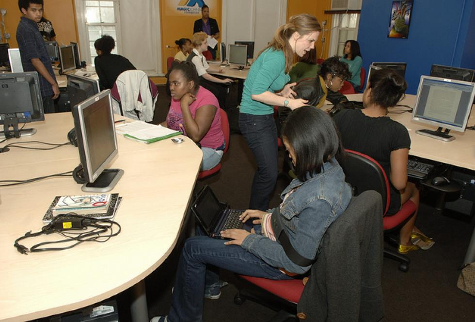 Students work in a computer lab at the Duke Ellington School of the Arts, a public school in the District of Columbia. (Flickr/U.S. Department of Education)