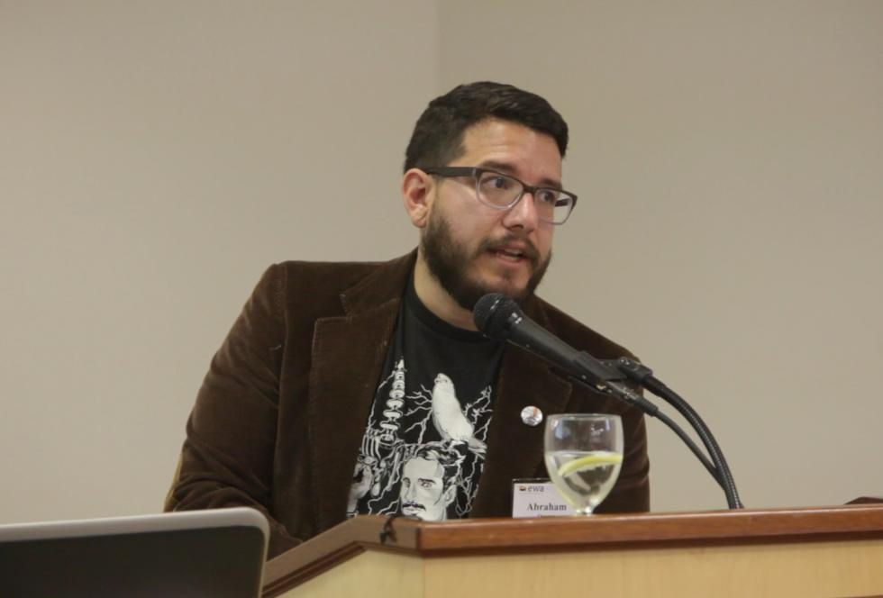 Adam Orozco speaks at EWA's conference for reporters, STEM and Beyond: Strengthening the Skills of Students and Journalists.""
