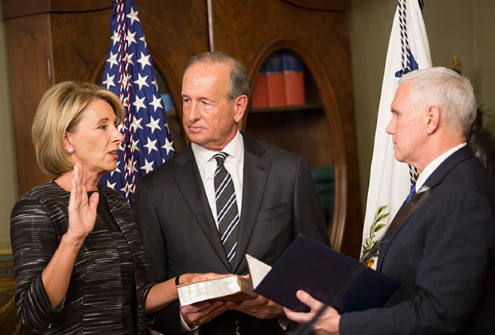 photo of Betsy Devos Swearing In Ceremony February 2017