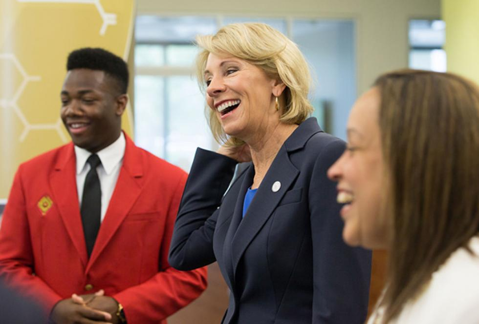 photo of Betsy Devos at Valencia College in 2017