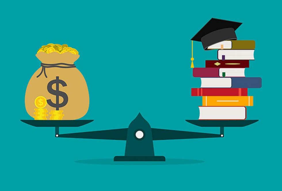 illustration of scale with money on one side and books with mortar cap on the other.