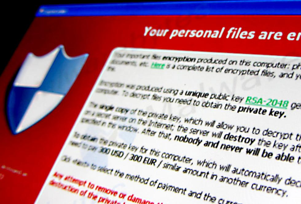 screenshot of cryptolocker ransomware on computer screen