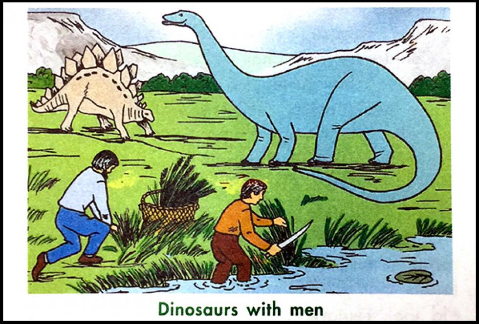 textbook image of dinosaurs with men