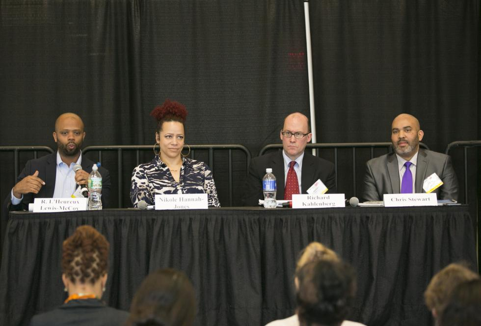 "Panelists at EWA""s National Seminar ""deep dive"" on school segregation, from left to right: R. L'Heureux Lewis-McCoy; Nikole Hannah-Jones; Richard Kahlenberg; and Chris Stewart. (Lilli Boxer for EWA)"