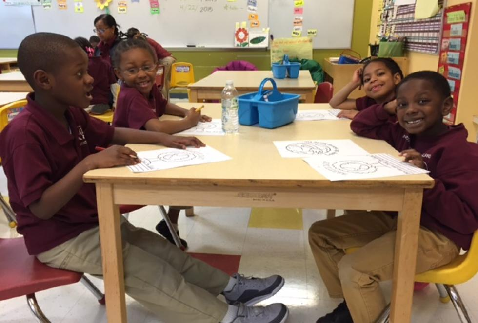Kindergarteners at the NKO campus of the UChicago Charter during a visit by EWA members in April 2015. (Beth Hawkins for EWA)