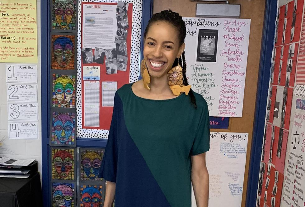photo of LaQuisha Hall in her classroom
