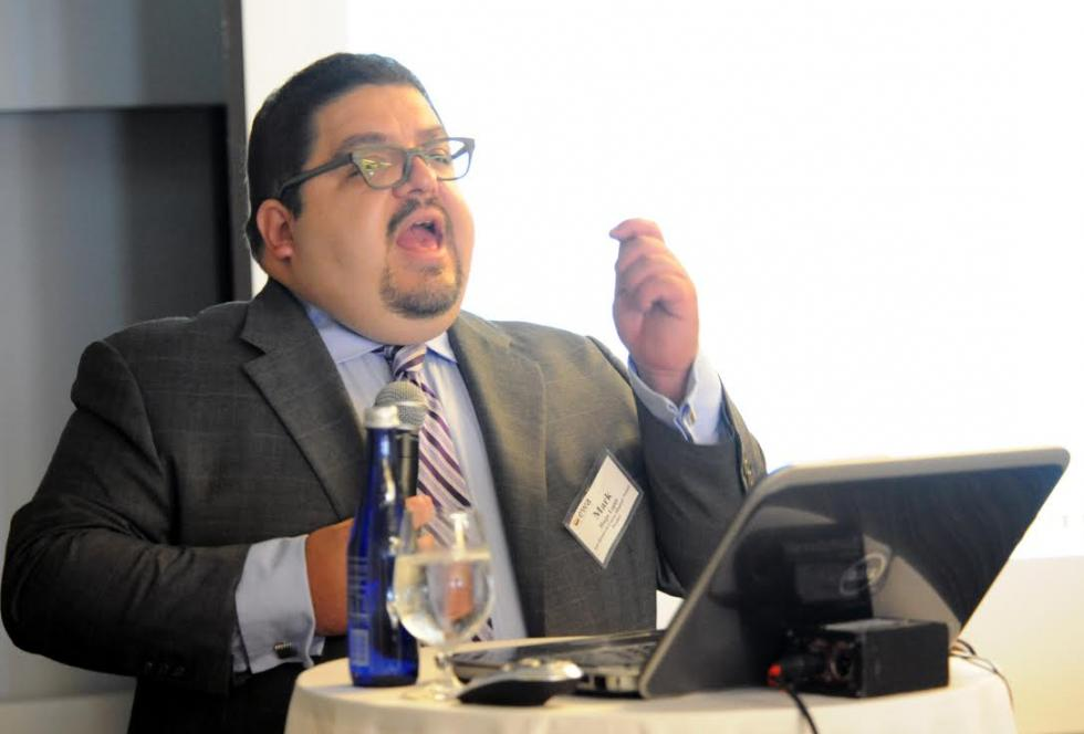 Mark Hugo Lopez of Pew Research Center's Hispanic Trends Project addresses attendees of EWA's first Spanish-Language Media Convening in Dallas. 