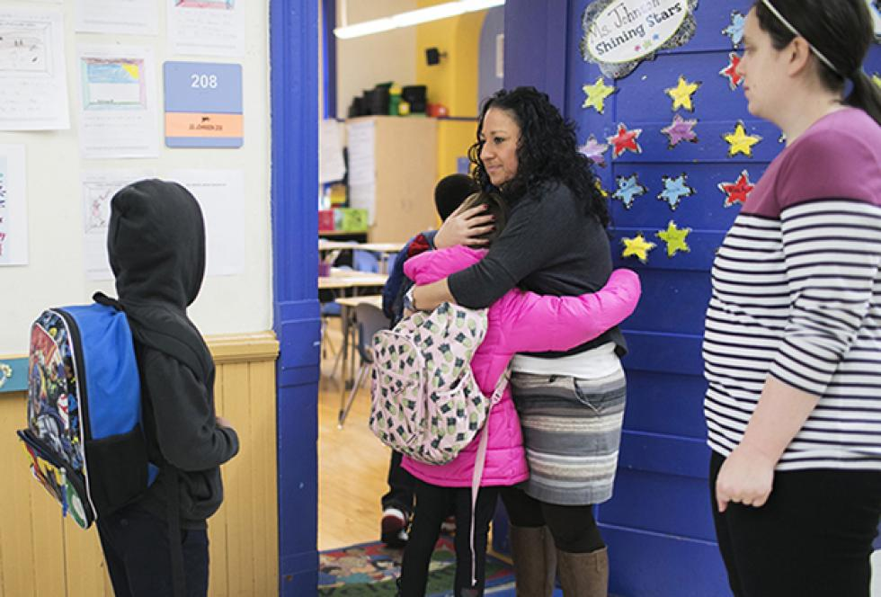 image of teacher and students at Ohio Ave school.
