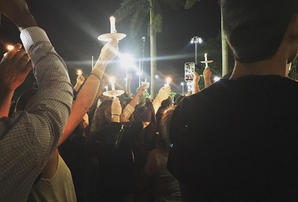 Photo taken at student-led vigil.