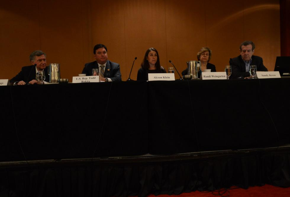 Alyson Klein of Education Week (center) moderates a panel on the future of NCLB at EWA's 68th National Seminar in Chicago.