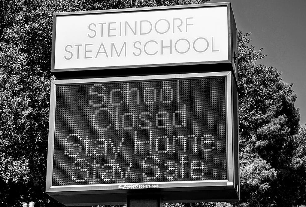 Steindorf Steam School Sign indicates school Is closed