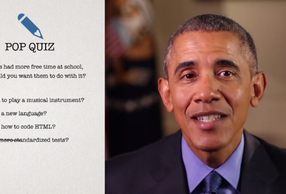 An image from President Obama's Facebook video, announcing a new push from the White House to reduce the amount of time students spend taking tests.