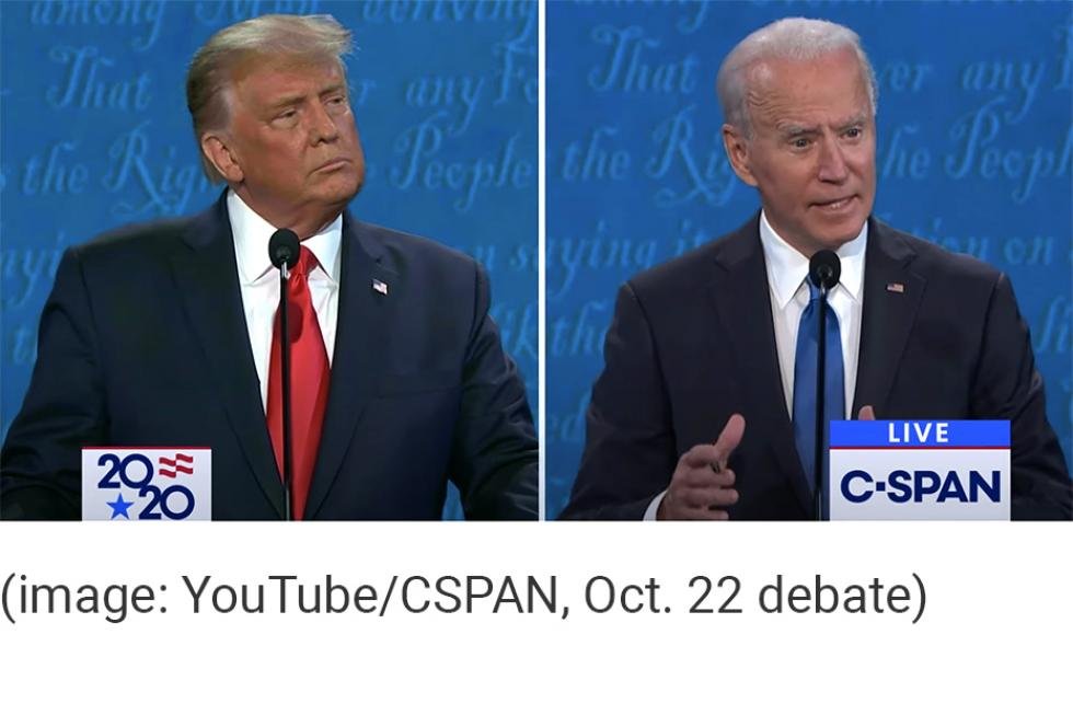 screenshot of President Trump and Joe Biden during the October, 22, 2020 presidential debate.