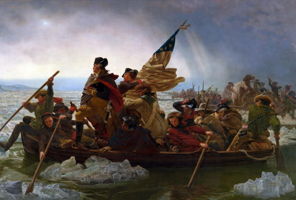 "Image of Emanuel Leutze's painting, ""Washington Crossing the Delaware."" (Source: WIkimedia Commons)"