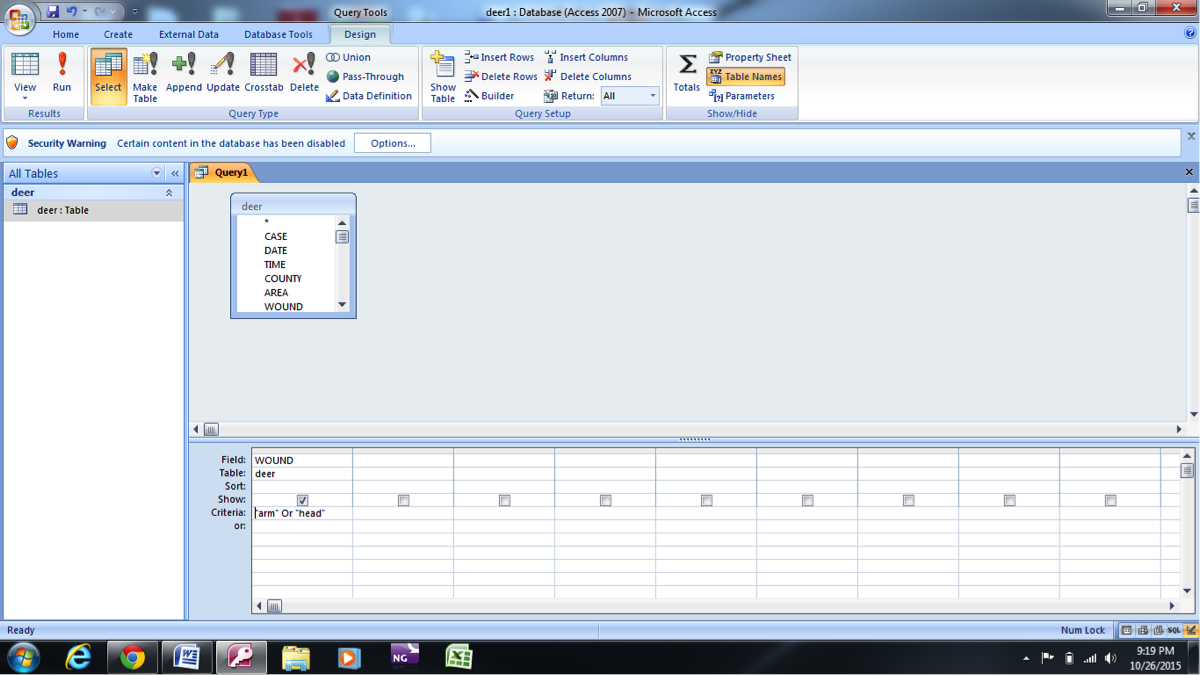 microsoft access query types