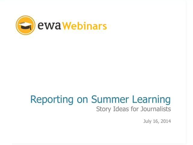 Reporting on Summer Learning: Story Ideas for Journalists