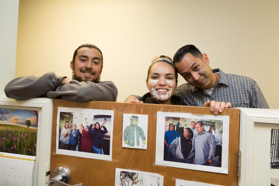 Homeboy Industries trainees (from left) Joseph Ulloa, Johanna Carbajal, and Noe Cruz. (Courtesy of Eddie Ruvalcaba/Homeboy Industries)