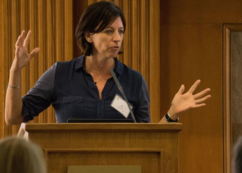Jo Boaler speakers to reporters during EWA's seminar on motivation held at Stanford University in November (Credit: Stanford University/Marc Franklin)