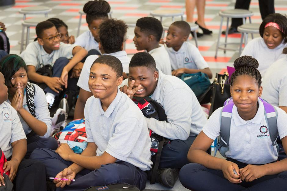 Students at the Brooklyn Laboratory Charter School this week during a visit by U.S. Department of Education officials. The school is one of 10 winning applications in a competition to reinvent the high school model. (Photo credit: Ethan Covey)
