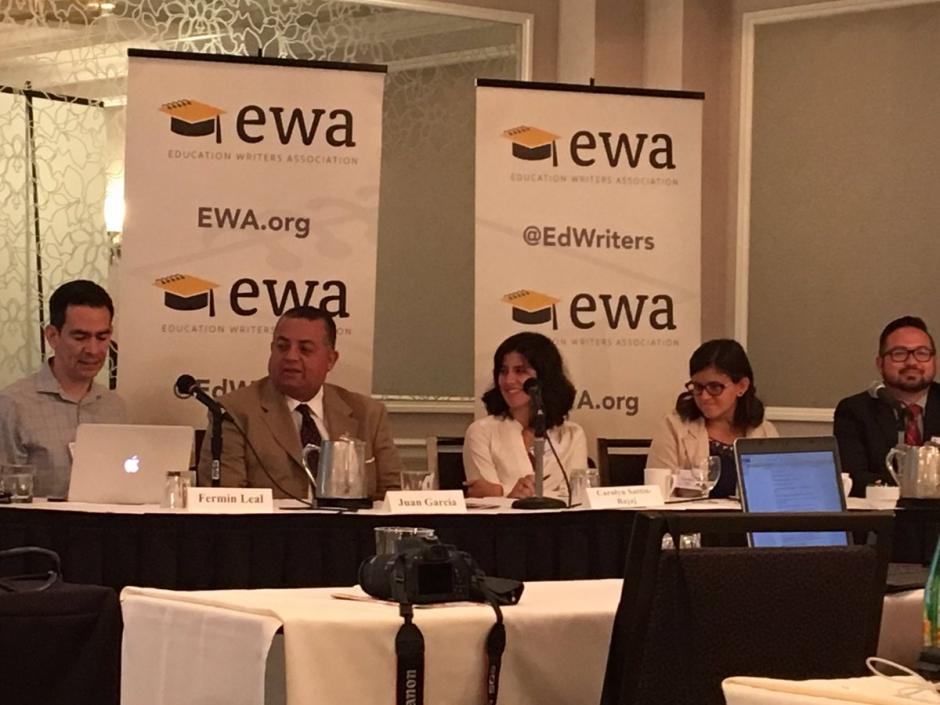 From left, Fermin Leal of EdSource, Juan Garcia of ACT, Carolyn Sattin-Bajaj of Seton Hall University, Carmen Macias of the University of Southern California, Victor Zamora of KIPP Colorado Schools participate in a panel discussion about Latino students and college readiness at EWA's third annual Spanish-language media convning. Source: Twitter/ @leslieenriquez