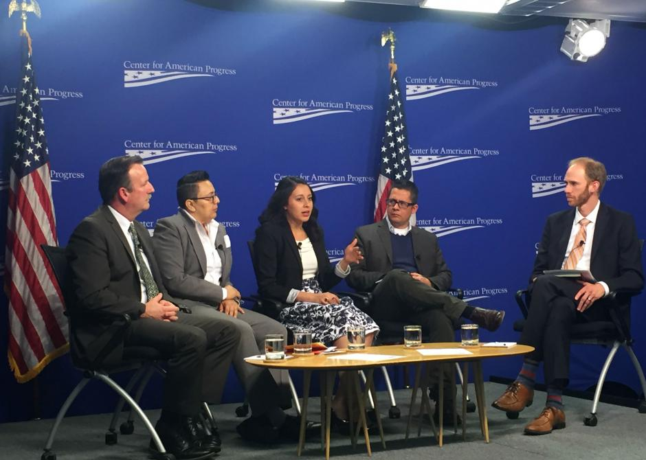 "Yehimi Cambron, middle, shares her immigration story at the Center for American Progress event, ""Harnessing the Talent of DACA and Unauthorized Students at the K-12 Level."" She was joined by, from left, Richard Loeschner of Brentwood High School in New York, Frances Esparza of Boston Public Schools, Roberto Gonzales of Harvard University, and moderator Scott Sargrad of CAP. Photo by Natalie Gross/ EWA"