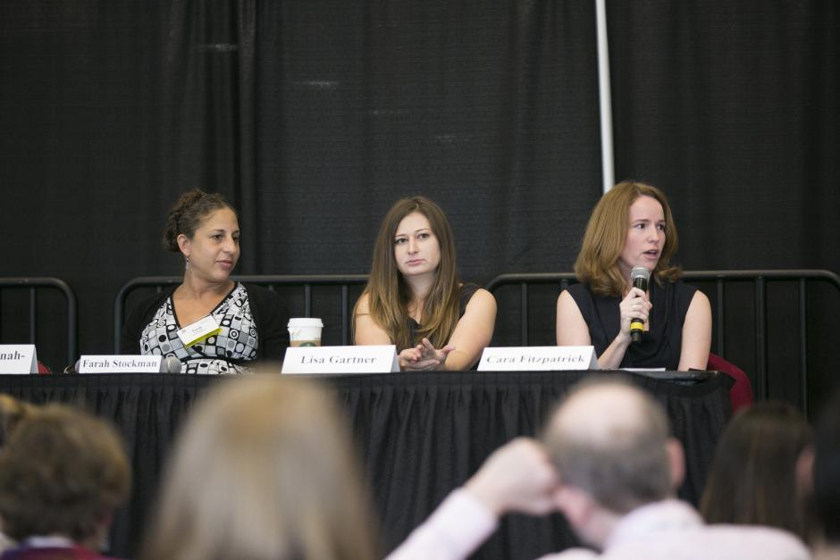 From left: Farah Stockman, Cara Fitzpatrick and Lisa Gartner talk with reporters at EWA's National Seminar in Boston on May 3, 2016. (Lily Boxer for EWA)